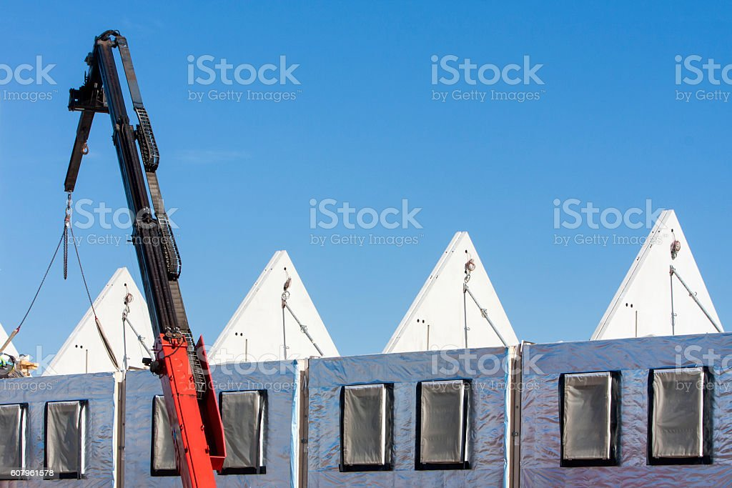 Construction of concrete houses with isolated walls stock photo