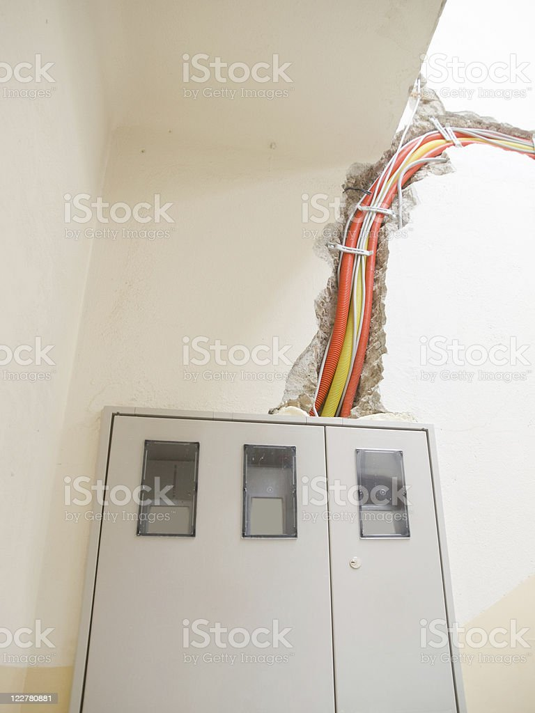 Construction of electrical instalations stock photo