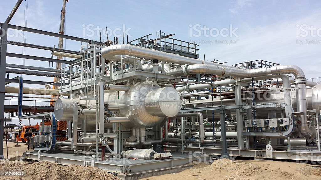Construction of Gas Plant Processing Equipment and facilities stock photo