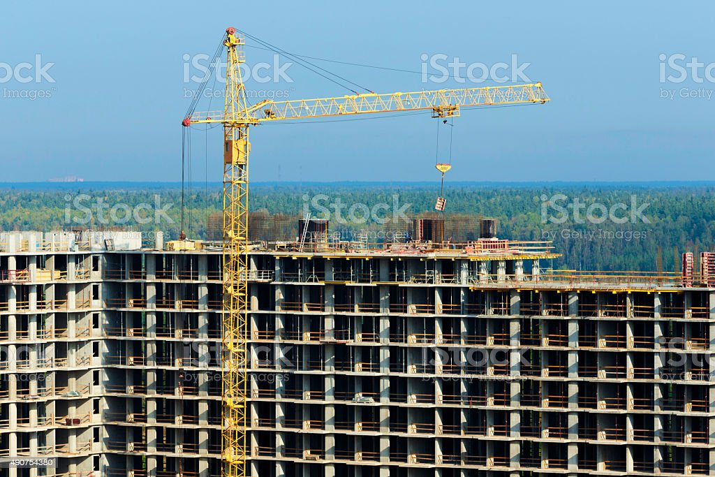 construction of high-rise building stock photo