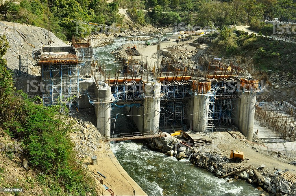 Construction of Hydro Power Stations stock photo
