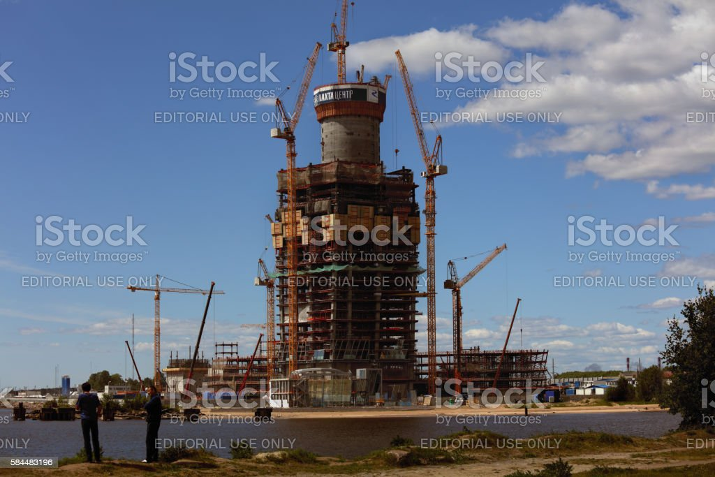 Construction of Lakhta Center in St. Petersburg, Russia stock photo