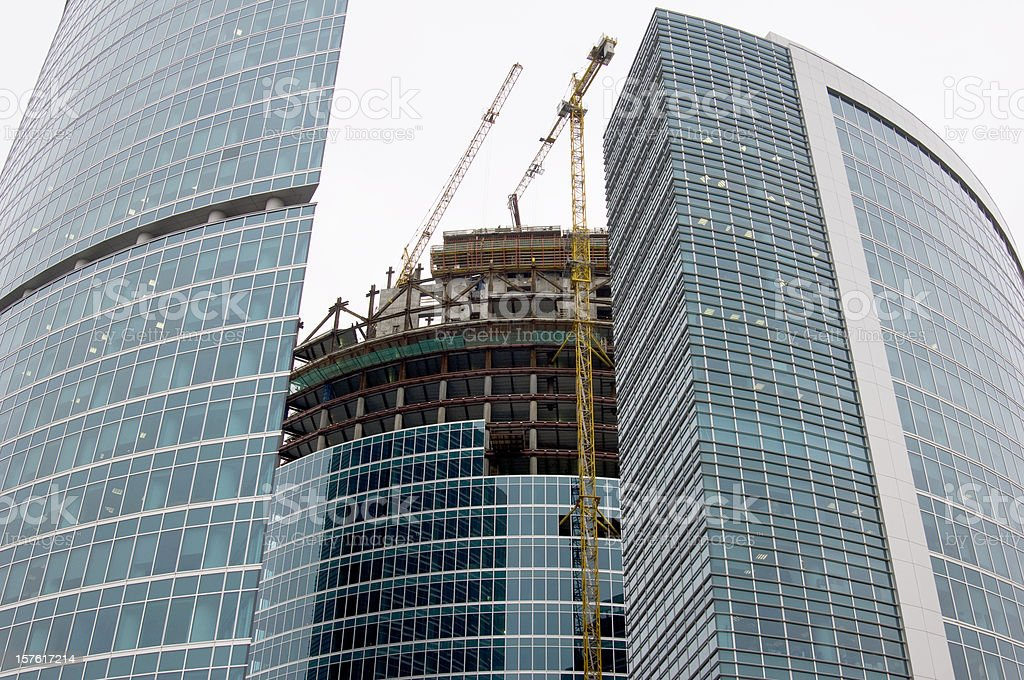 Construction of modern office buildings in downtown. royalty-free stock photo
