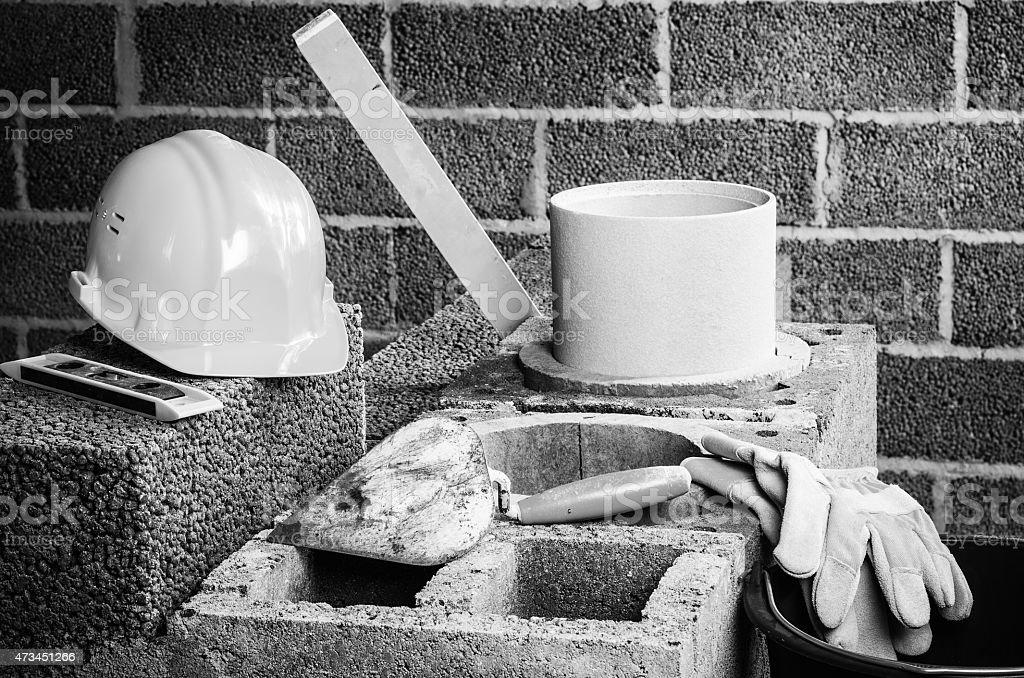 Construction of modular ceramic chimney stock photo