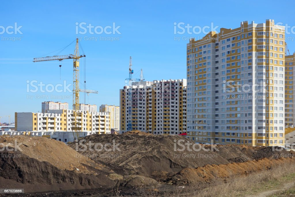 Construction of multistory buildings stock photo