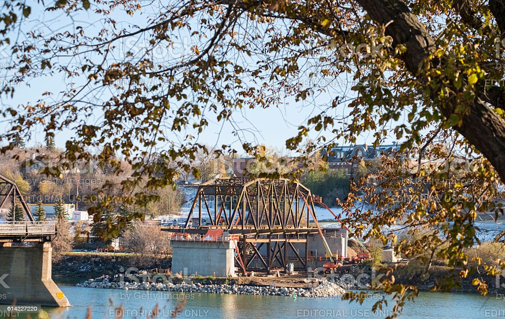 Construction of New Bridge in Saskatoon stock photo