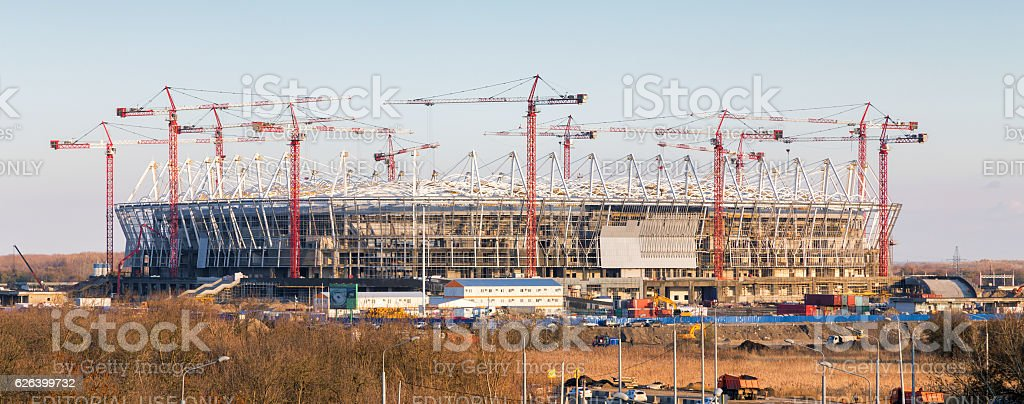 Construction of new football stadium in Rostov-on-Don. Russia stock photo