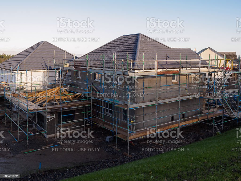 Construction of new homes in Falkirk, Central Scotland. stock photo