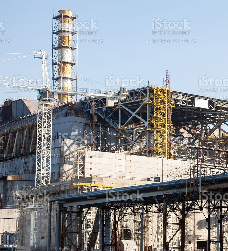 Construction of New Safe Confinement at Chernobyl stock photo