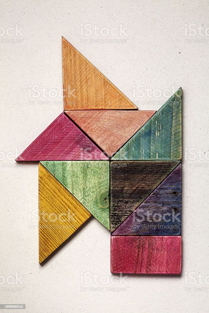 construction of painted wood pieces stock photo