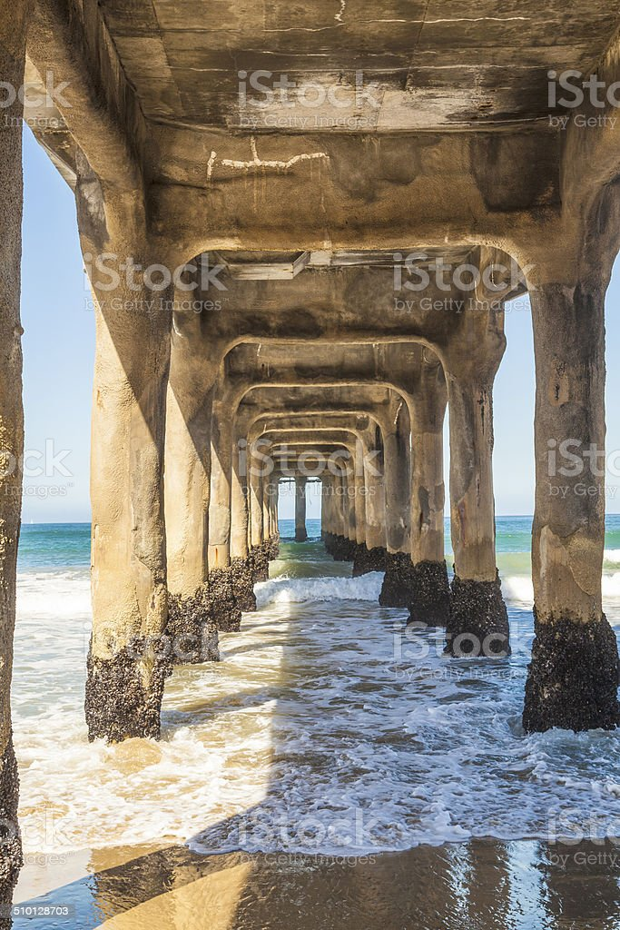 construction of piles for the pier made of concrete stock photo