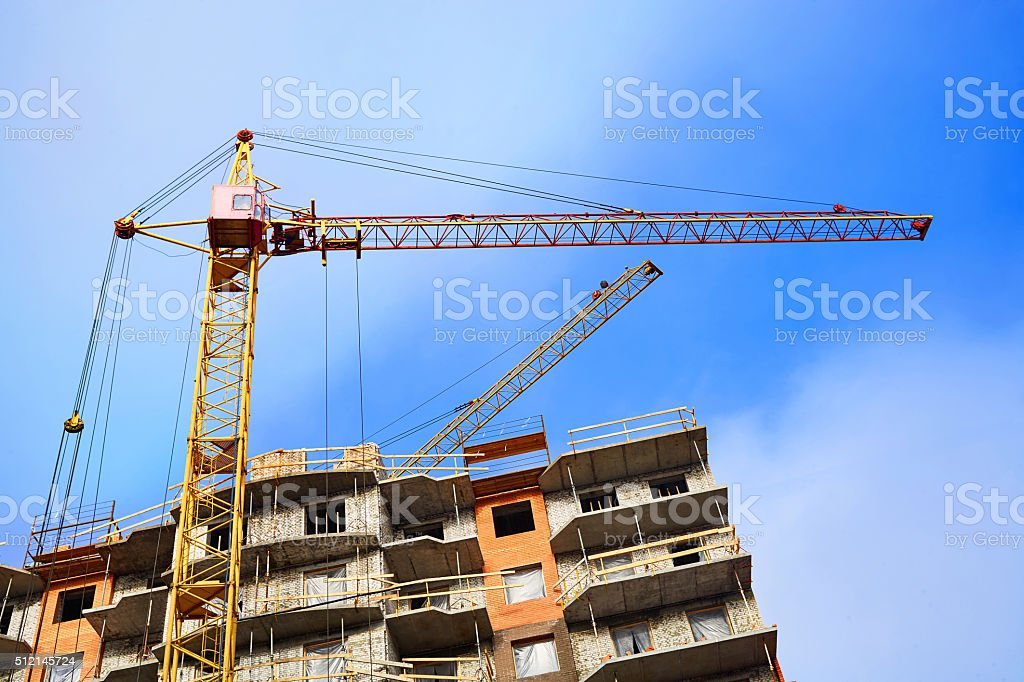 Construction of residential buildings stock photo