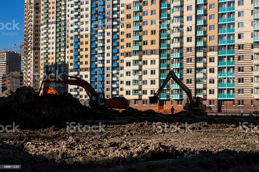Construction of roads and laying of communications stock photo
