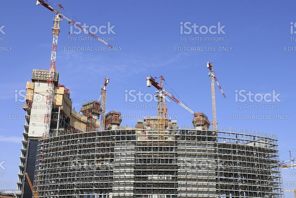 Construction of skyscrapers in Milan royalty-free stock photo