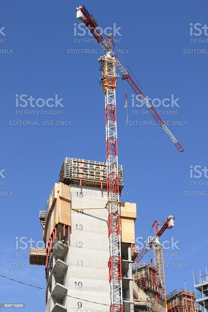 Construction of skyscrapers in Milan stock photo