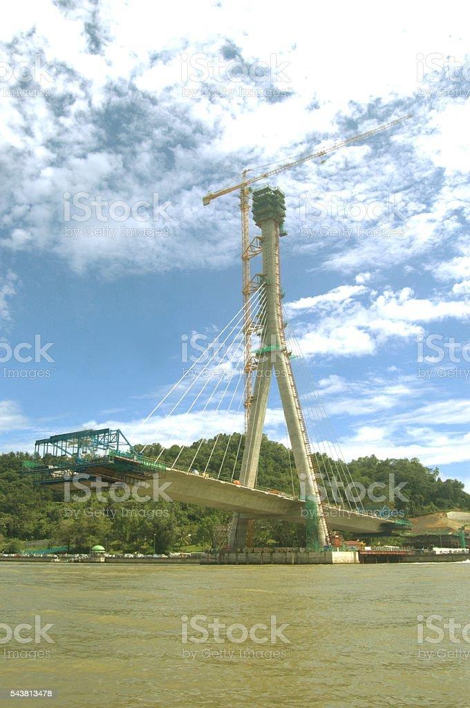 Construction of Sungai Kebun bridge in Brunei Darussalam foto de stock libre de derechos