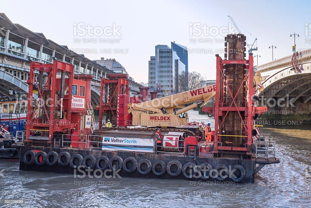 Construction of Thames Tideway super sewer construction at Blackfriars Bridge stock photo