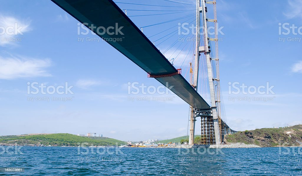 Construction of the bridge. Vladivostok. Russia. royalty-free stock photo