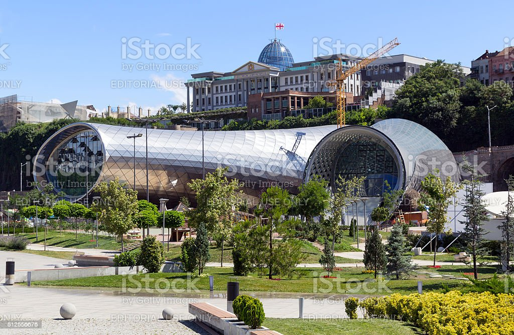Construction of the concert hall. Tbilisi stock photo