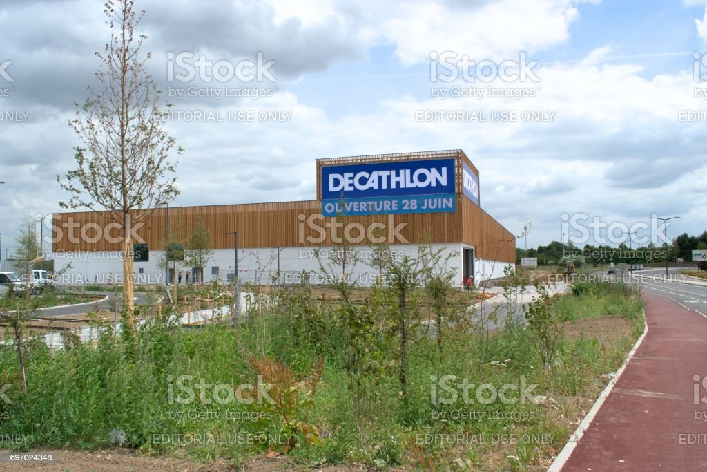Construction of the Decathlon market. stock photo
