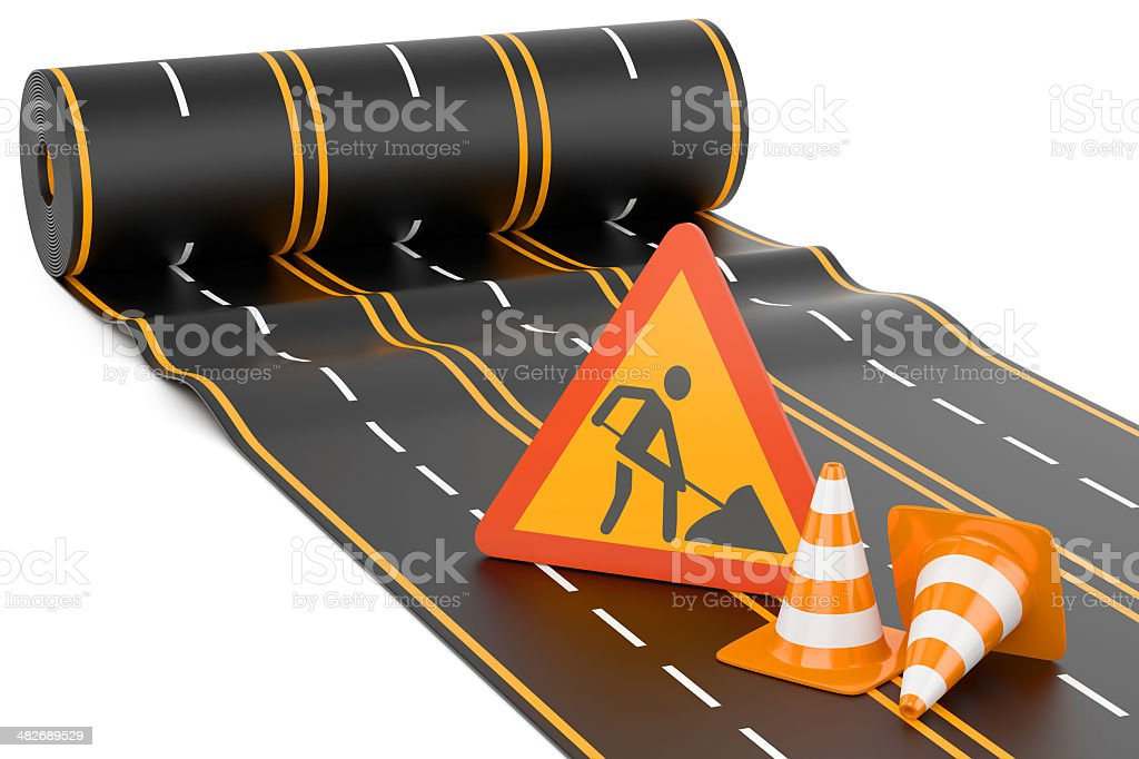 Construction of the highway stock photo