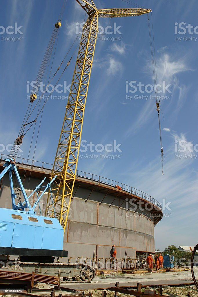 Construction of the oil tank stock photo