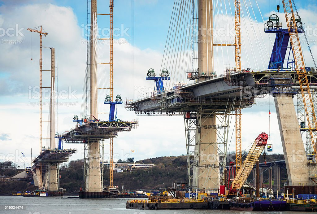 Construction of the Queensferry Crossing over the Firth of Forth stock photo