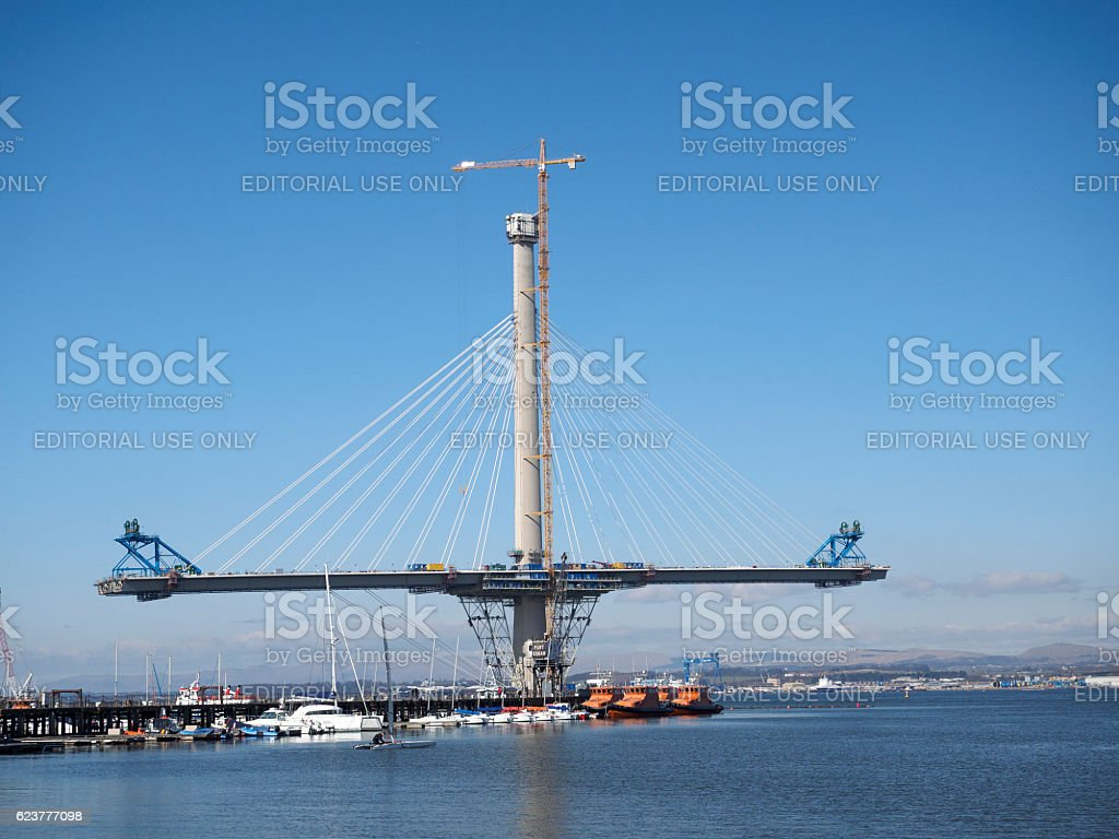 Construction of the Queensferry Crossing, Scotland. stock photo