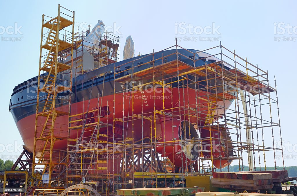 Construction of the ship stock photo