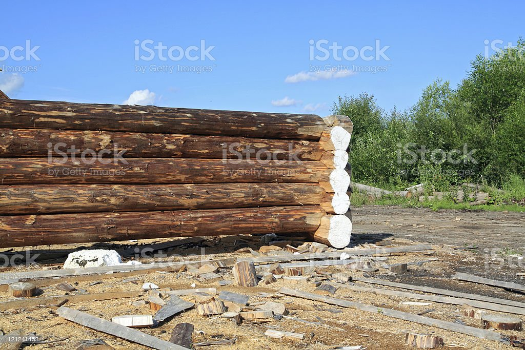 construction of the wooden building stock photo