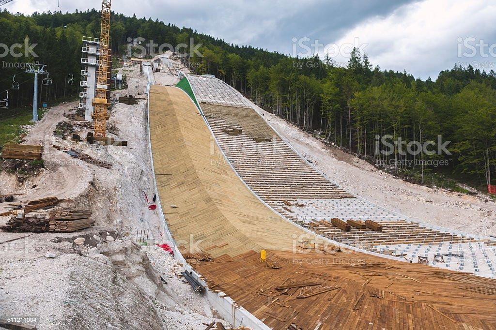 Construction of Two Ski Jumps in Planica, Gorenjska,Slovenia, Europe. stock photo