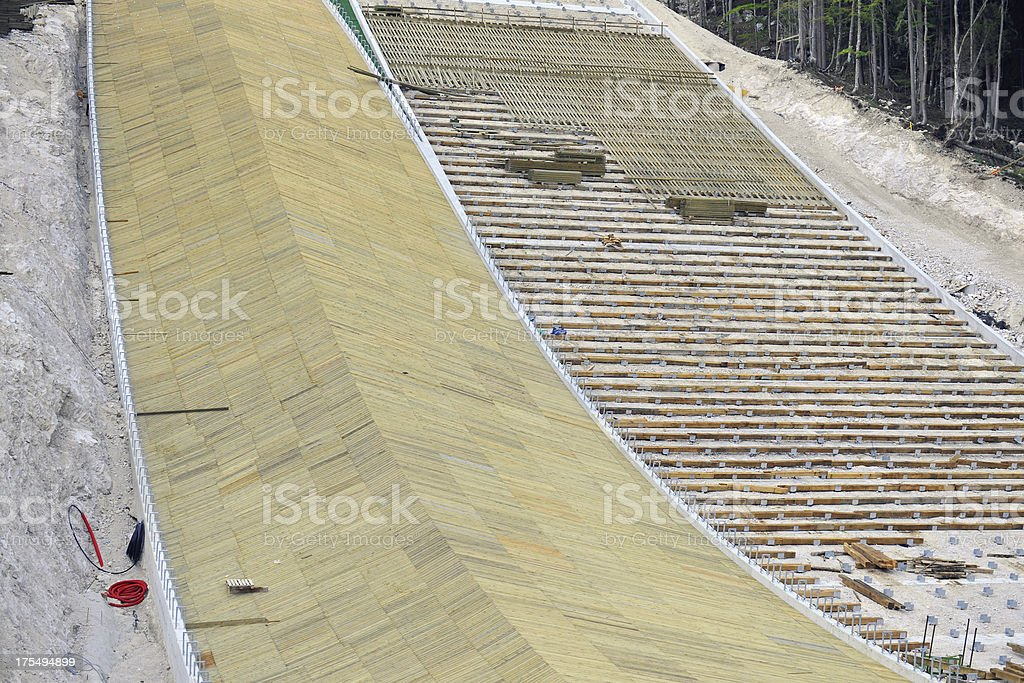 Construction of Two Ski Jumps in Slovenia stock photo