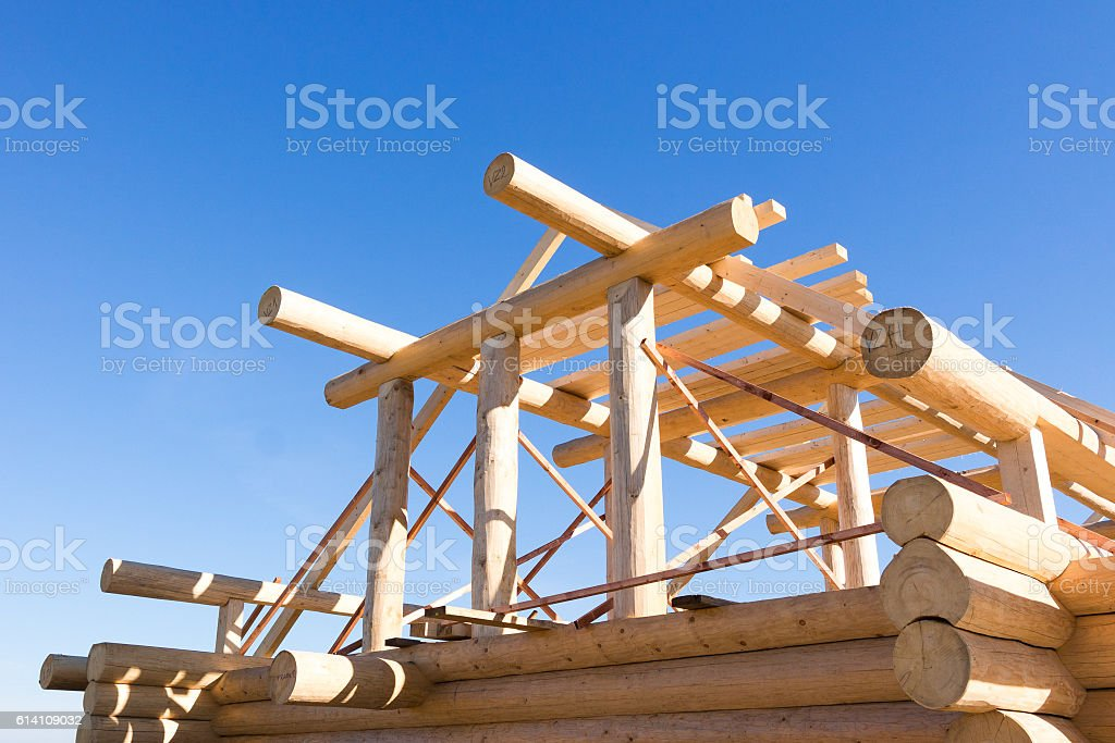 construction of wooden house stock photo