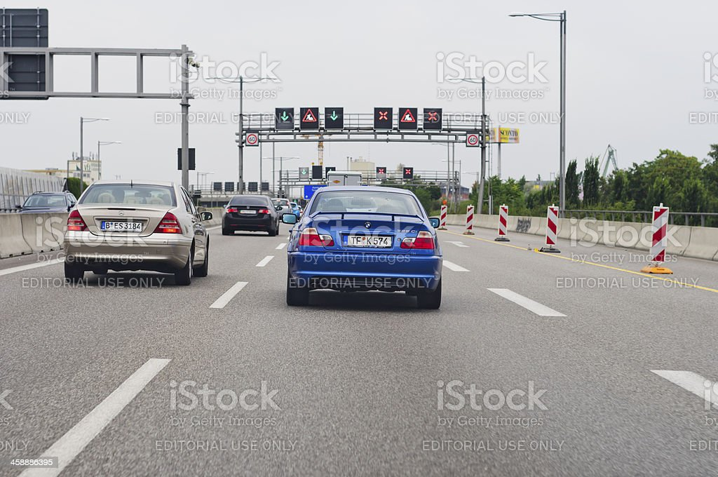 Construction on the German motorway A 113 royalty-free stock photo