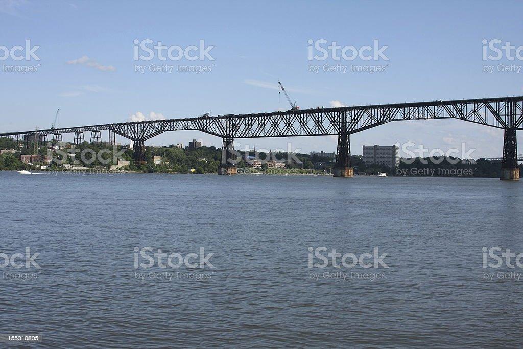 Construction on the Poughkeepsie Bridge stock photo
