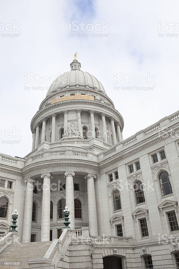 Construction on Wisconsin State Capitol Building stock photo