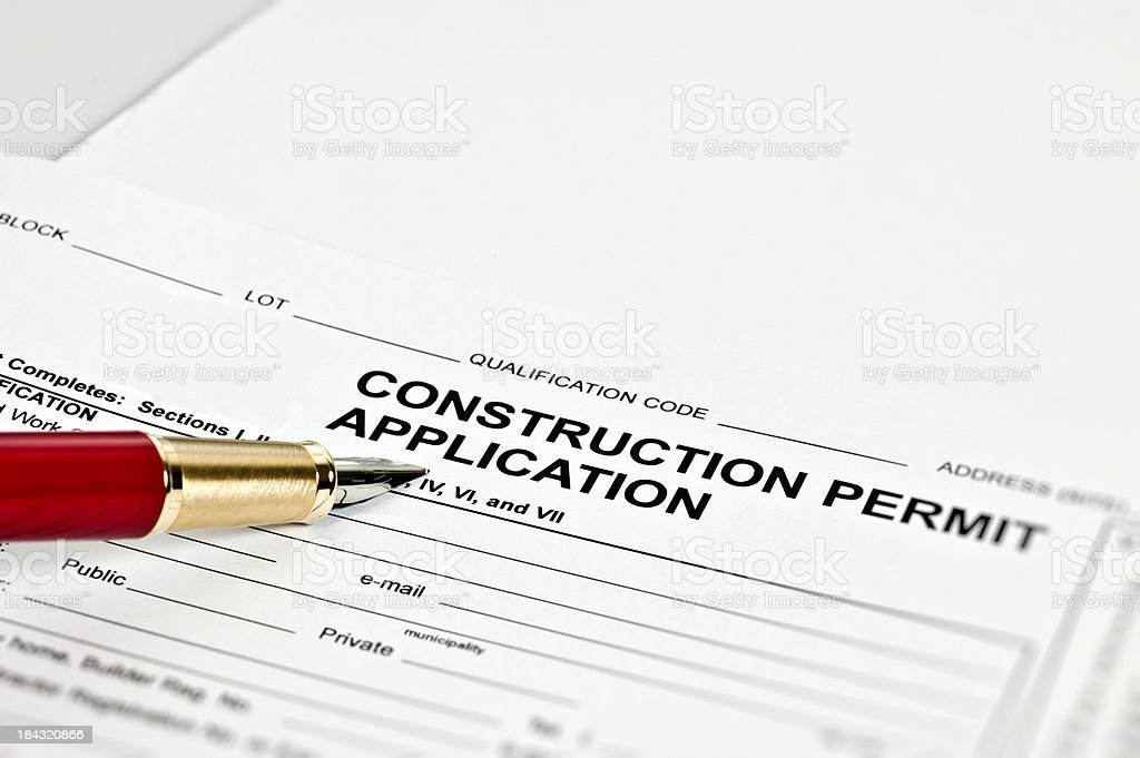 Construction Permit Application stock photo