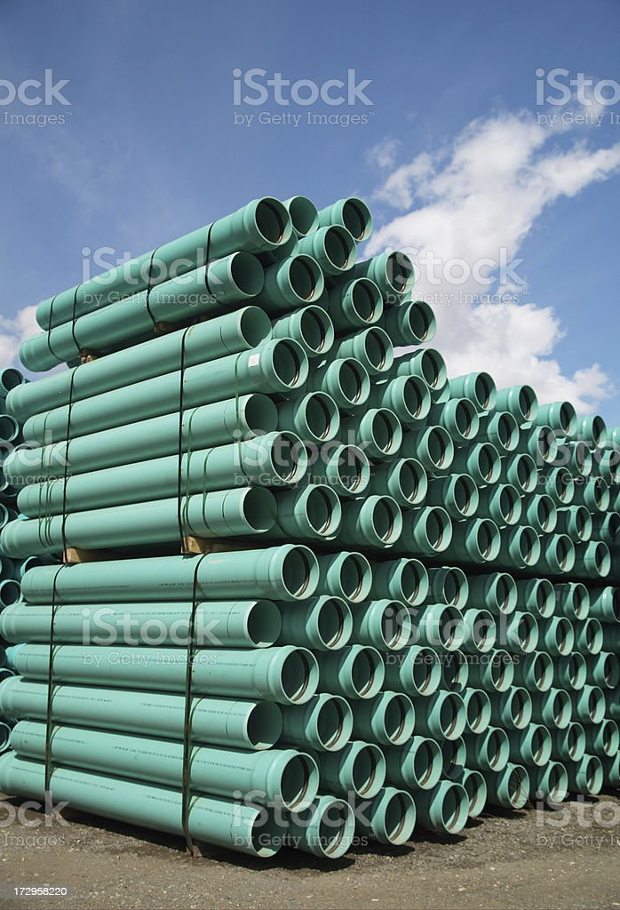 Construction Pipes and Tubes - Medium Green PVC royalty-free stock photo