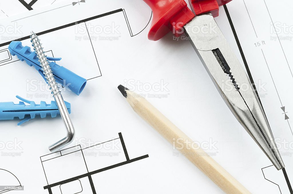 Construction Plan Tools royalty-free stock photo