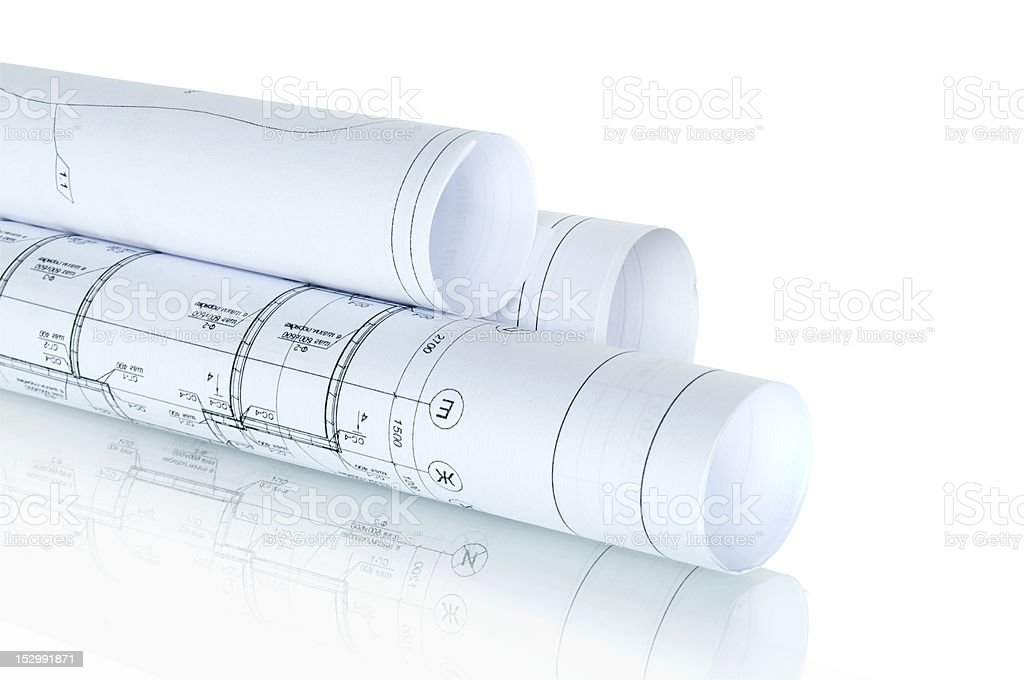 construction plans in rolls isolated on white stock photo