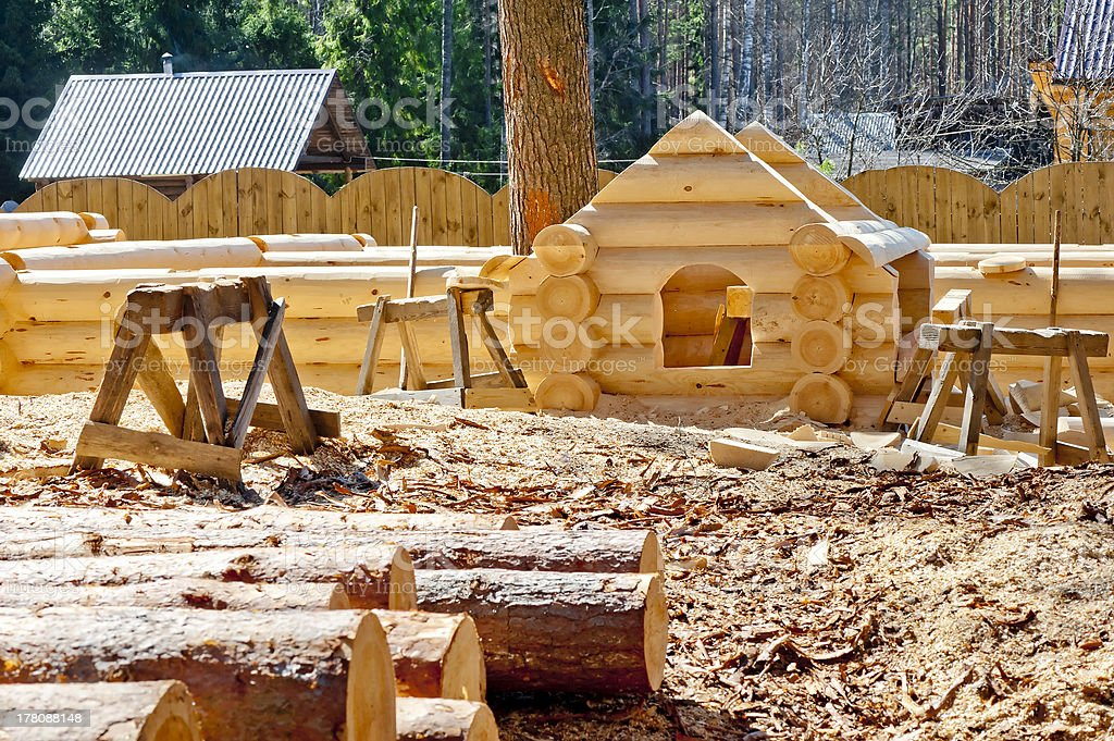 Construction plaschadka processing log cabins houses stock photo