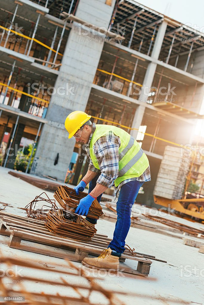 Construction platform for the building in city stock photo