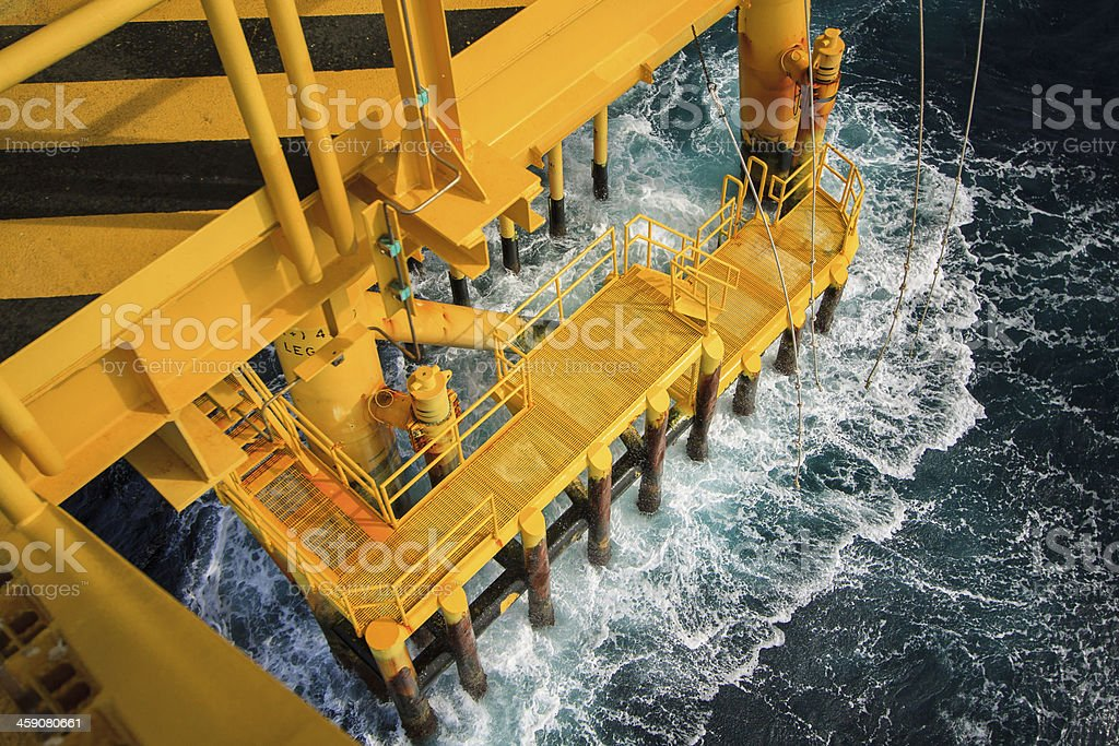 Construction platform in the gulf of thailand stock photo