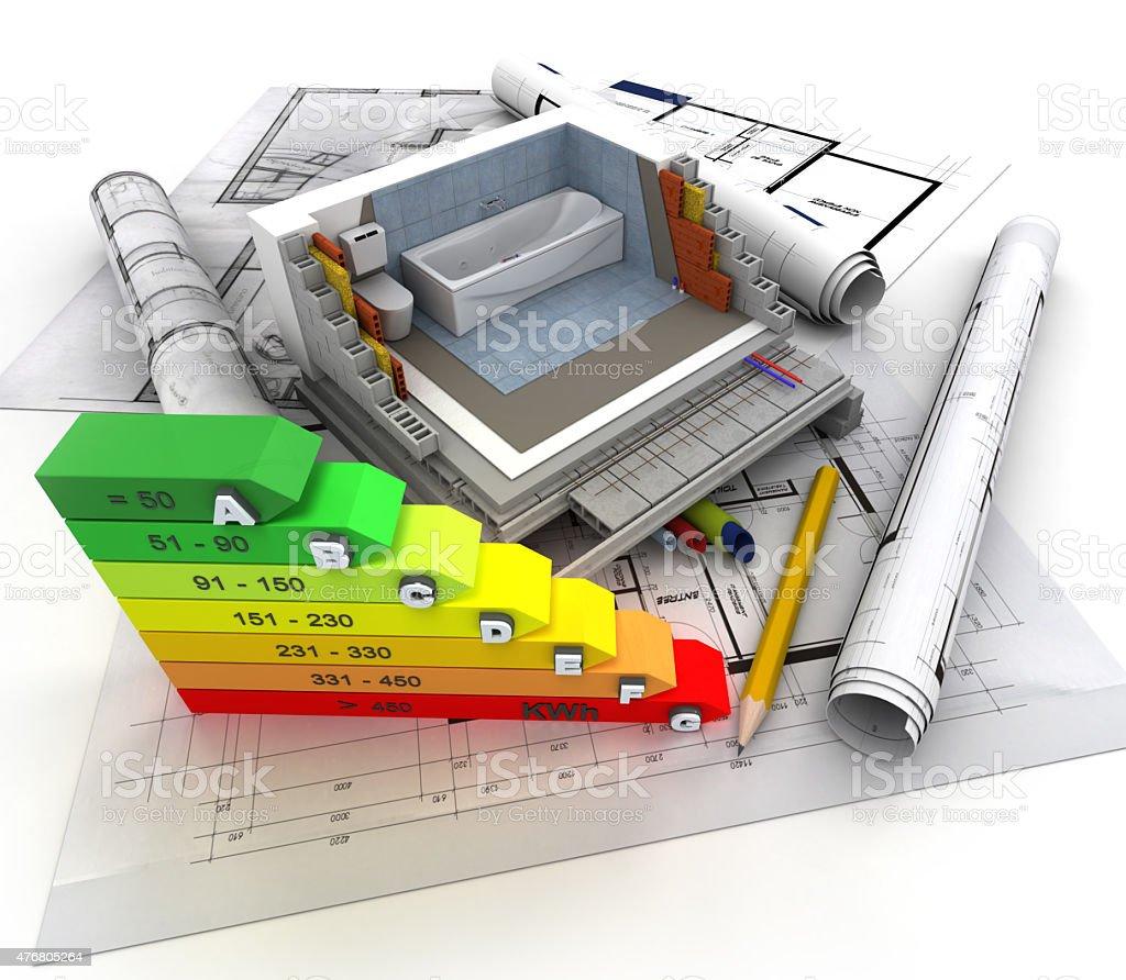 Construction, plumbing energy efficiency stock photo