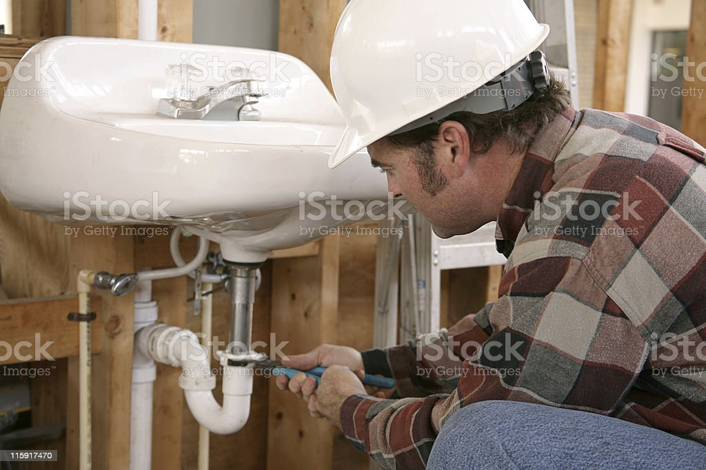 Construction Plumbing Work royalty-free stock photo