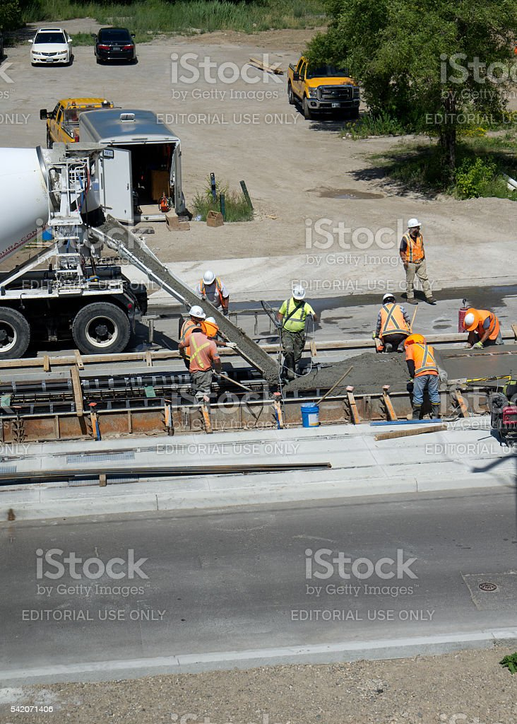LRT Construction Pouring Cement stock photo