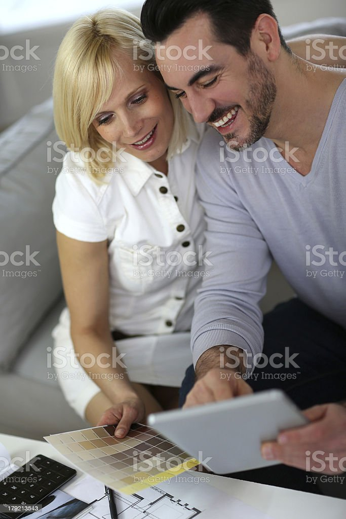 Construction project for the couple at home royalty-free stock photo