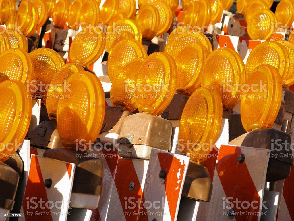 Construction Reflectors Orange Lights royalty-free stock photo