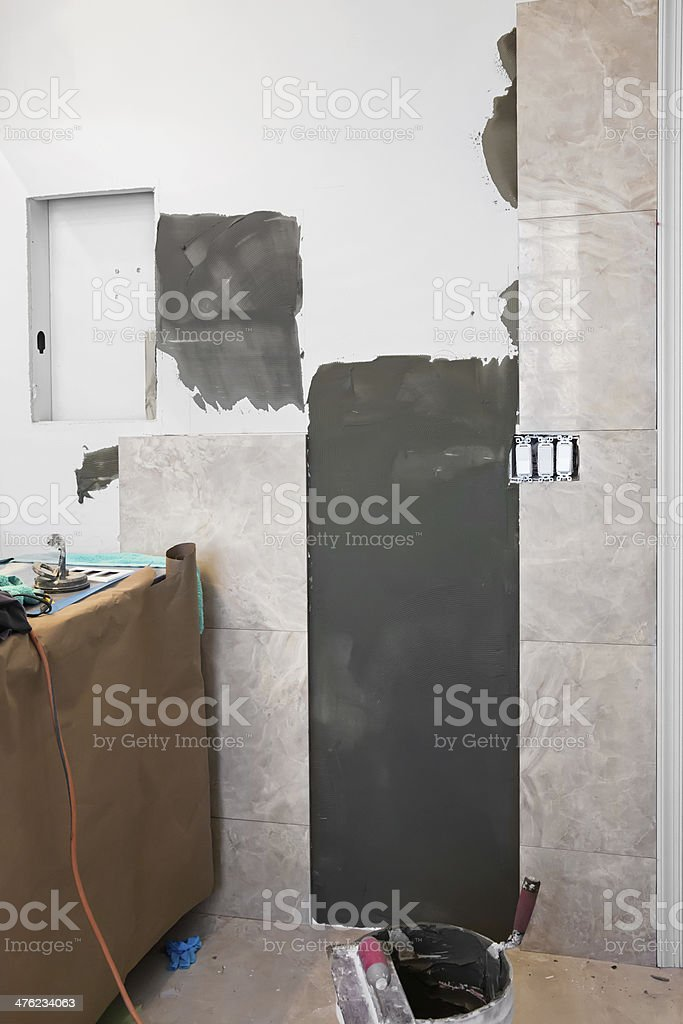 Construction:  Remodeling a bathroom royalty-free stock photo