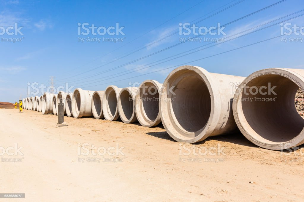 Construction Roads Storm Drain Pipes stock photo